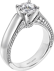 Art Carved Diamond Engagement Ring w/ Scroll Work