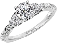 Art Carved Floral Diamond Engagement Ring .20ct tw