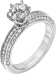 Art Carved Micro-Prong set Diamond Engagement Ring .33ct tw