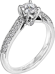 Art Carved Pave Diamond Engagement Ring