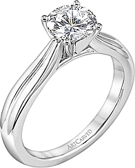 Art Carved Solitaire Diamond Engagement Ring