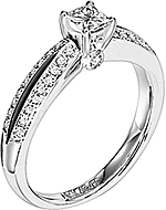 This image shows the setting with a 1.00ct princess cut diamond. The setting can be ordered to accommodate any shape/size diamond listed in the setting details section below.
