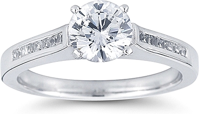 Cathedral Princess Cut ChanelSet Diamond Engagement Ring US3017