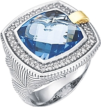 Chad Allison 18K Gold & Sterling Silver Diamond and Blue Topaz Cocktail Ring