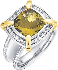 Chad Allison 18k Gold & Sterling Silver Diamond and Olive Quartz Cocktail Ring