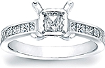 This image shows the setting with a basket made to hold a 1.00ct princess cut center diamond. The setting can be ordered to accommodate any shape/size diamond listed in the setting details section below.