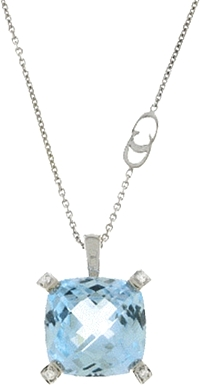 Chimento 18k White Gold Blue Topaz Pendant