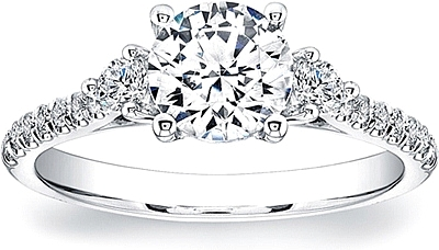 this image shows the setting with a 100ct round brilliant cut center diamond the - 3 Stone Wedding Rings