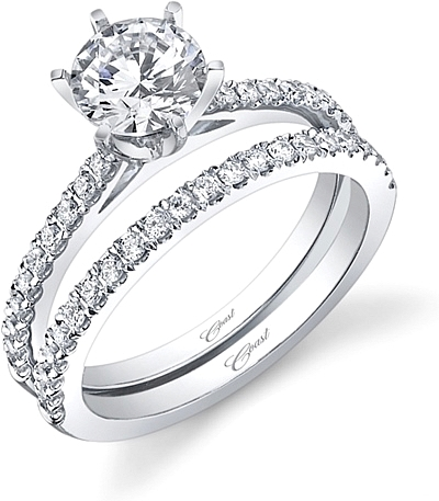 This image shows the setting made to fit a 1.00ct round brilliant cut center diamond. The setting can be ordered to accommodate any shape/size diamond listed in the setting details section below. Wedding band sold separately.