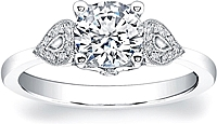 Coast Diamond Pave Shoulder Diamond Engagement Ring