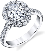 This image shows the setting with a 1.00ct oval cut center diamond. The setting can be ordered to accommodate any shape/size diamond listed in the setting details section below.
