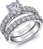 This image shows the setting with a 1.50ct round brilliant cut center diamond. The setting can be ordered to accommodate any shape/size diamond listed in the setting details section below. Wedding band sold separately.