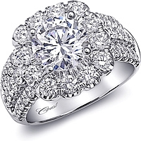Coast Prong Set Triple Row Diamond Engagement Ring