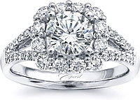 Coast Split Shank Halo Diamond Engagement Ring