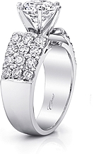 This image shows the setting with a 2.00ct round brilliant cut center diamond. The setting can be ordered to accommodate any shape/size diamond listed in the setting details section below. Wedding band sold separately.