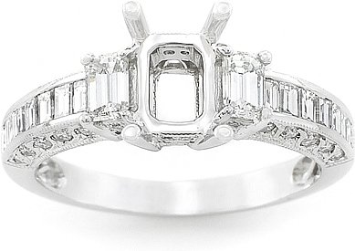 This image shows the setting with a basket made for a 1.75ct emerald cut diamond. The setting can be ordered to accomodate any shape/size diamond listed on the setting details section below.