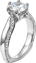 Diana Pave Diamond Six Prong Engagement Ring