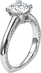 Diana Solitaire Engagement Ring with Pave Accents