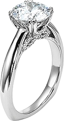 Diana Solitaire Engagement Ring with Pave Diamond Basket Accents