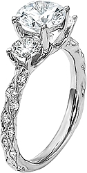 Diana Three Stone Engagement Ring with Pave Diamond Band