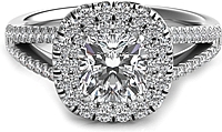 Double Row Cushion Halo Split Shank Engagement Ring