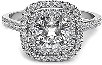Double Row Pave Halo Diamond Engagement Ring