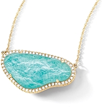 Doves 18k Yellow Gold Diamond & Amazonite Necklace