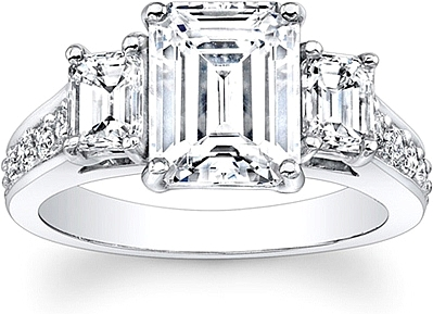 this image shows the setting with a 150ct emerald cut center diamond the setting - Emerald Cut Wedding Rings