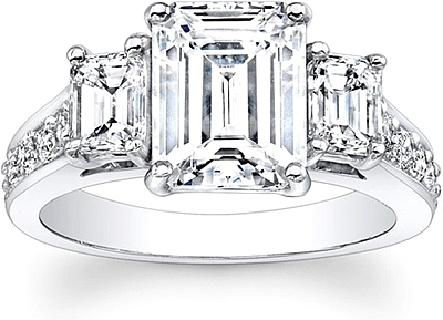 Emerald Cut 3Stone Diamond Engagement Ring SES1228C