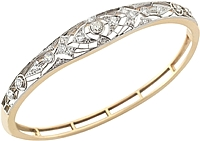 Estate 14k White & Yellow Gold Diamond Bangle