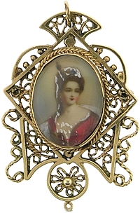 Estate 14k Yellow Gold Painted Photo Brooch/Necklace
