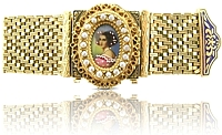 Estate 14K Yellow Gold Painted Portrait Covered Watch