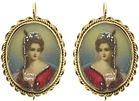 Estate 14K Yellow Gold Painted Portrait Earrings