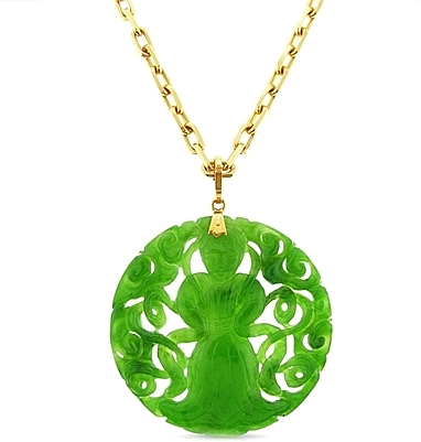 Estate 18k rose gold chain carved jade pendant 430 01632 aloadofball Images