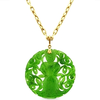 Estate 18k Rose Gold Chain & Carved Jade Pendant