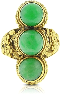 Estate 22K Yellow Gold Jade ring