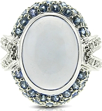 Estate Chalcedony & Sapphire Cocktail Ring