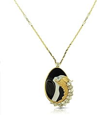 Estate Erte'  Diamond, Onyx & Mother of Pearl Necklace
