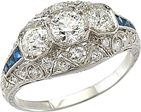 Estate Three Stone Platinum Diamond Ring