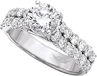 FlyerFit Double Row Common Prong Diamond Engagement Ring