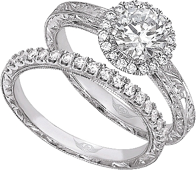FlyerFit Halo Pave Diamond Engagement Ring with Hand Engraving VS03AENG