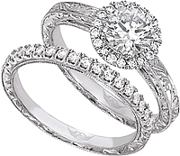 FlyerFit Halo Pave Diamond Engagement Ring with Hand Engraving