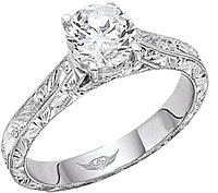 FlyerFit Hand Engraved Solitaire Engagement Ring