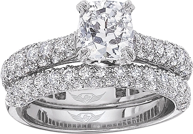 This image shows the setting with a 1.50ct cushion cut center diamond. The setting can be ordered to accommodate any shape/size diamond listed in the setting details section below. The matching wedding band is sold separately.
