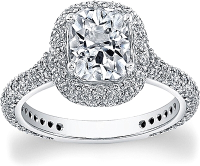 This Image Shows The Setting With A 2.00ct Cushion Cut Center Diamond. The  Setting