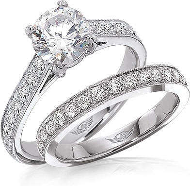 FlyerFit Pave Diamond Engagement Ring 5152E