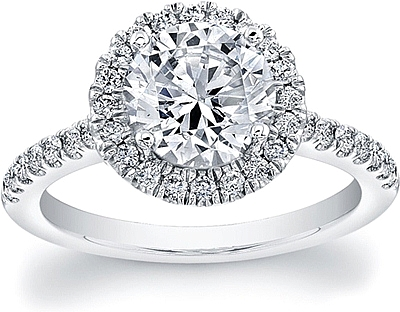 This image shows the setting with a 1.25 round brilliant cut center diamond. The setting can be ordered to accommodate any shape/size diamond listed in the setting details section below