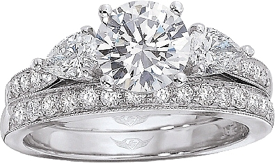 FlyerFit Pear Shape Pave Diamond Engagement Ring 5137SPSR