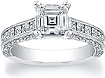 This image shows the setting with a 1.00ct asscher cut center diamond. The setting can be ordered to accommodate any shape/size diamond listed in the setting details section below.