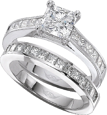 this image shows the setting with a 125ct princess cut center diamond the setting - Princess Cut Wedding Ring Set